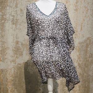 Leopard Print Swim Suit Cover Up